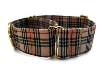 Plaid Martingale Dog Collar 1.5 Inch Black and Tan with Brass Hardware