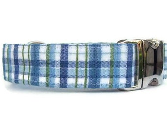 Blue Plaid Dog Collar - The Day Sailor with Nickel Hardware