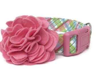 Pink Blue Plaid Dog Collar with Pink Flower Accessory - Cotton Candy Plaid