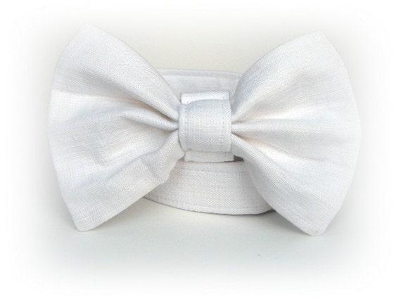 Wedding Dog Bow Tie - White Linen