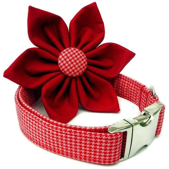 Houndstooth Dog Collar and Flower Set - Red and Pink Houndstooth