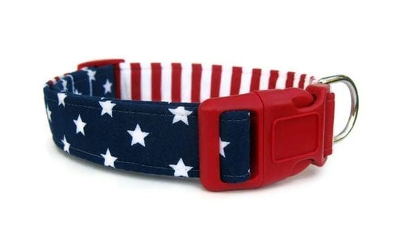 Stars and Stripes Dog Collar, Red White and Blue Dog Collar, Memorial Day Dog Collar, 4th of July Dog Collar, Labor Day Dog Collar