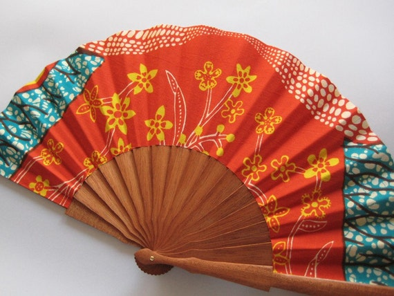 Pumpkin Sun - OOAK Ethnic wax print Spanish hand fan - 1ASB
