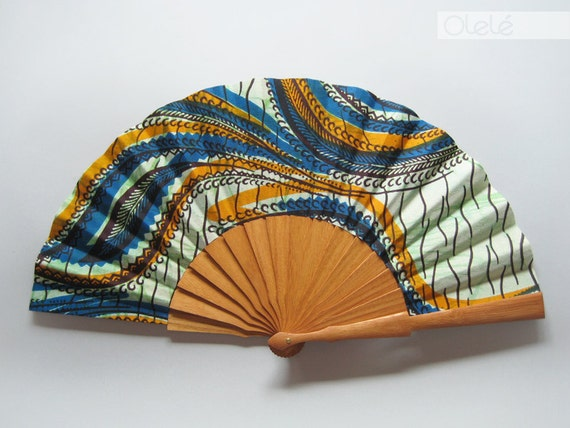 Wax print hand fan with case  - Orange & Blue Summer Waves - 1AD