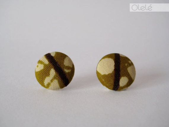 Fabric covered earrings - African wax print