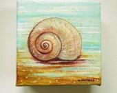 Original Seashell Painting on Mini Canvas