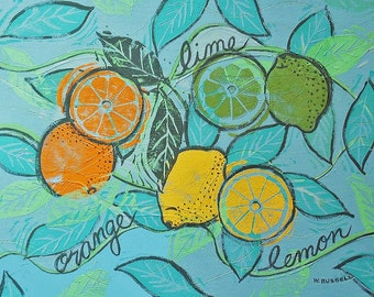 Original Painting Handpainted Art Kitchen Art Citrus Fruit Foodie Art Signed Original Art Canvas Painting Handmade Wall Art Chef Art Wallart