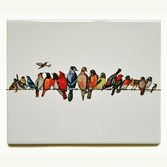 Chorus Line Bird Theme  Printed Ceramic Tile