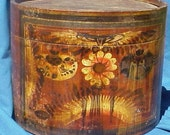 Antique Hat Box Folk Art reserved for piscesboy71