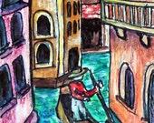 ACEO Venice Canal Gondola Mixed Media ATC