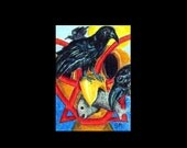 ACEO Totem and Raven, Crow Fish Feast Modernistic, Abstract, Contemporary