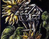 ACEO Scratch w Colored Pencil Bird House Yellow Flowers Birds