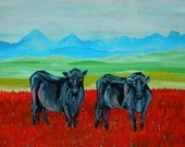 Original Painting, Cows in the Tulip Field, Acrylic Expressionist Painting, Red and Blue