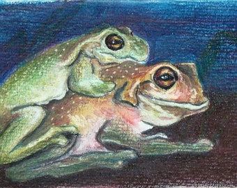 Happy Little Frogs Small Format Painting Colored Pencil 4 x 6