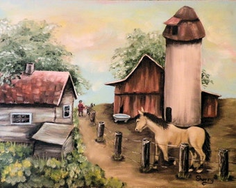 12 x 16 Original Oil Painting Feeding Time at the Homestead