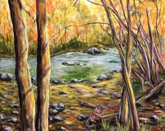 Acrylic Fall in the Woods Chipmonks Wall Art Original by Artist 16x20