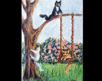 Original ACEO, Three Kittens at Play,  Colored Pencil Cats, Small Format