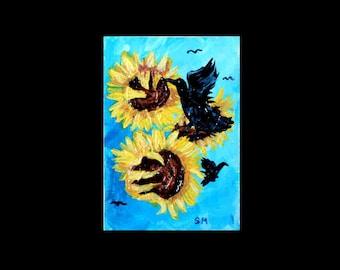 ACEO Crows and Sunflowers Painterly Acrylic