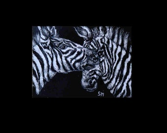 ACEO Zebras Scratch Art