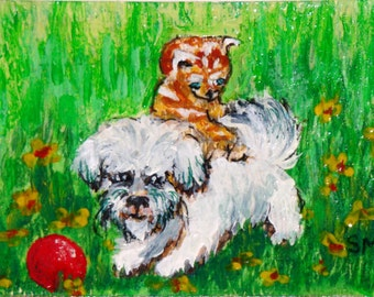 ACEO Playfull Kitten and Puppy Acrylic and Ink