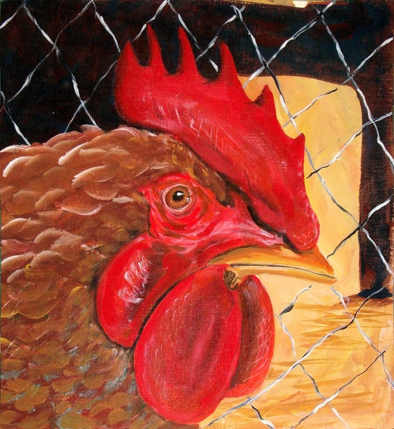 Captive Rooster Original Acrylic Painting