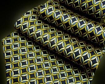 Yellow Navy Printed Silk Tie