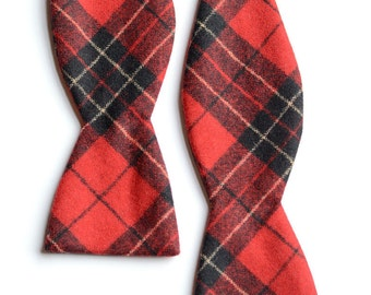Red Plaid Wool Bow Tie
