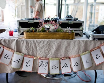 SaMpLe SaLe - Pink, Orange, Green handmade Just Married Banner for your Wedding Reception or Get Away Car (imperfect)