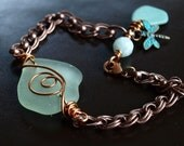 Reserved Listing for Martha-Seafoam Swirl Beach Glass Bracelet