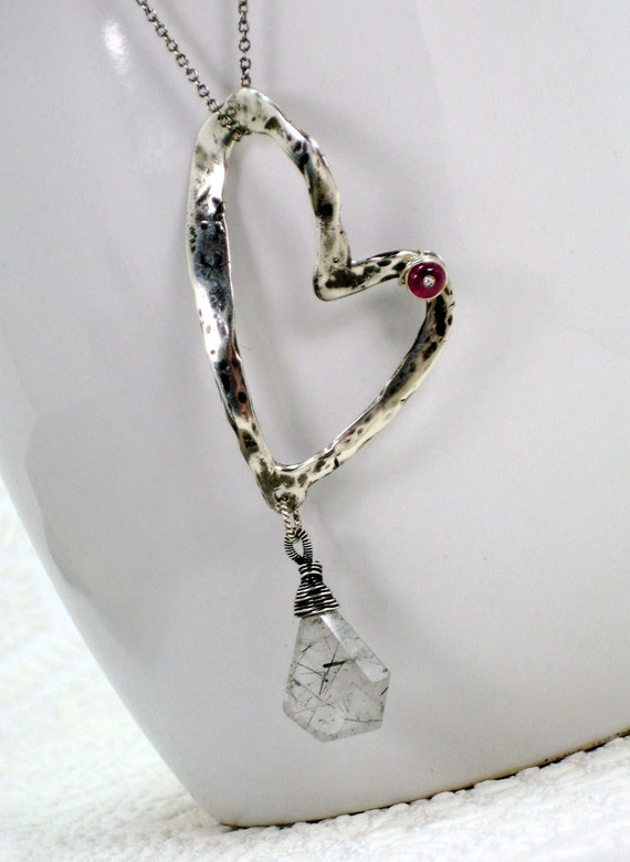 Hammered Heart Ruby Accent Necklace w Rutilated Quartz Drop Sterling Wire Wrapped