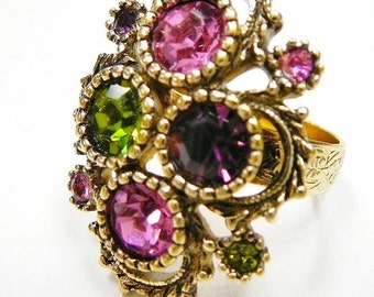 Large Vintage Austrian Lights Colorful adjustable Ring