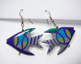 Wood Fish Earrings pierced dangle Nautical Handpainted Vintage
