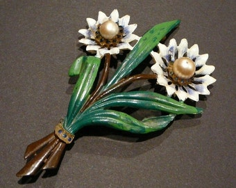 1940's Hand Painted Celluloid Plastic Bouquet of Flowers Brooch Pin