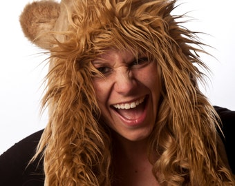 Faux Fur Lion Half Hat