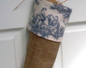 Country Chic French Wedgewood Blue and Ivory Sweet Pastimes Toile Burlap Christmas Stocking