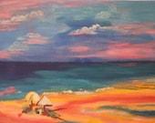 Sand castles I, acrylic on canvas