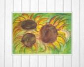 Art Print of Original Watercolor Painting. Sunflower series. Three Sunflowers on green. Israeli art