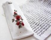 Reserved  OOAK Judaica Gift Mezuzah Case Red roses on white Polymer clay Israel Jewish New Year Rosh-Hashana Jewish wedding