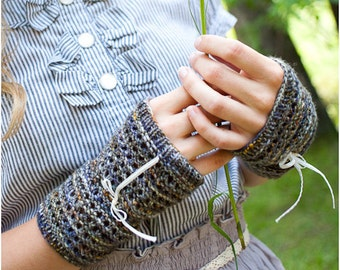 KNITTING PATTERN Lacy Inside Out Fingerless Gloves PDF