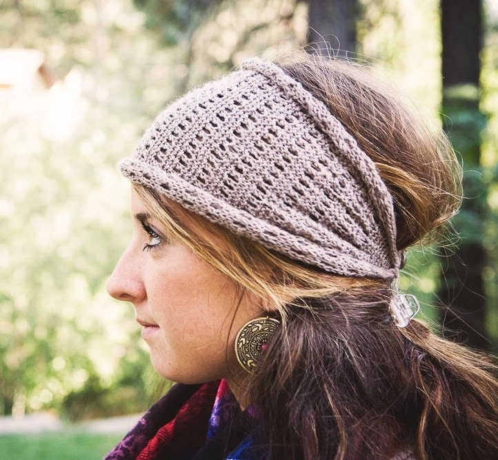 Knitted Head Scarf Pattern : KNITTING PATTERN Lacy Head Wrap Ear Warmer PDF
