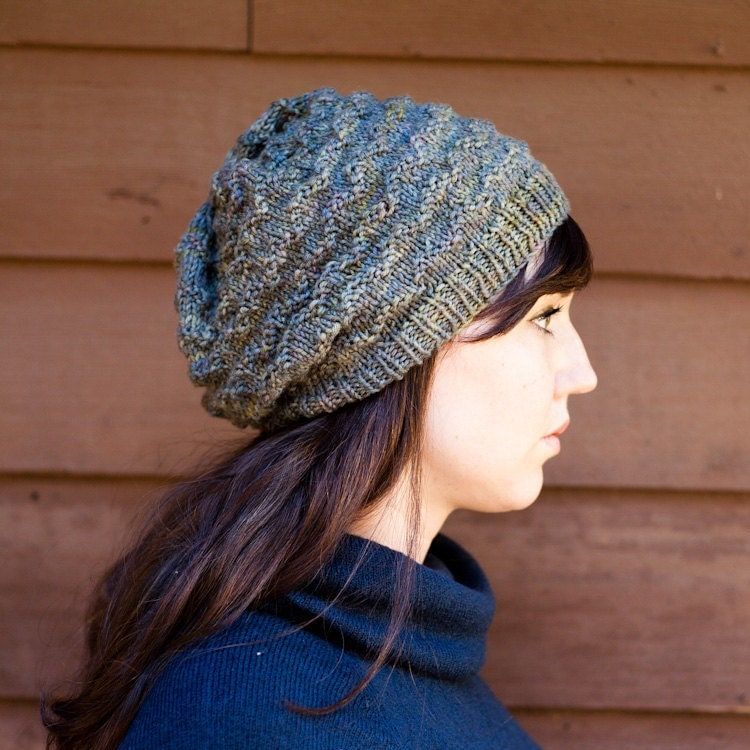 Knitting Pattern For Slouchy Hat : KNITTING PATTERN Lovely Chevron Slouchy Beanie PDF