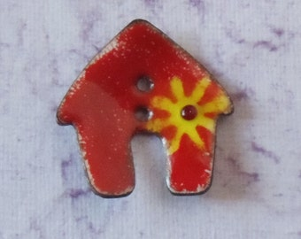 Handcrafted Enamel Button:  Red House 2016 B-196