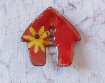 Handcrafted Enamel Button:  Red House 2016 B-194