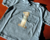 Blue 1 One Year Birthday Applique T-Shirt Short Sleeve