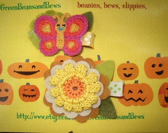 Butterflies in the Flowers Girls-Toddlers Hair Clips