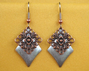 Silver and copper is a show stopper earrings (Style #244C)