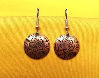 Happy flower copper earrings (Style #452)