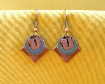 Copper and silver sandwich cookie earrings (Style #482)