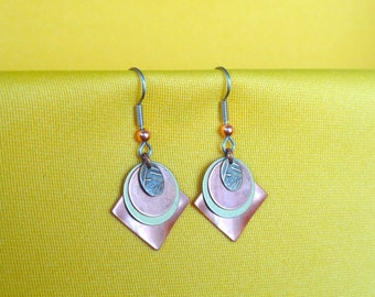 4 layer cake copper and gold earrings (Style #447G)