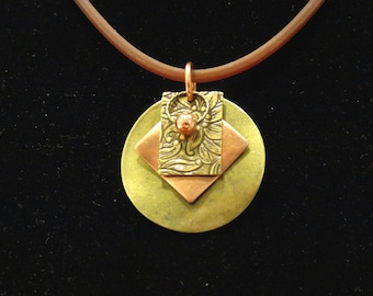 Ring around the rectangle antique gold and copper pendant (Style #1370C)